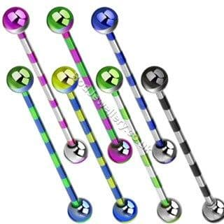 Anodized Striped Steel Industrial/ Scaffold Barbell 7 Colours 38mm