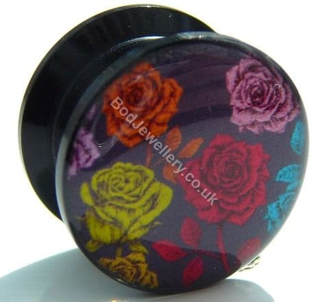 Black Acrylic Colourful Roses Screw Ear Tunnel Plug 6mm to 25mm