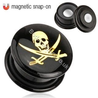 Black Acrylic Magnetic Golden Pirate Ear Tunnel Plug 4mm - 16mm