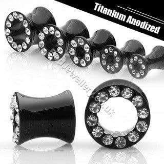 Black Anodized 316L Steel Saddle Ear Tunnel Crystal 4mm to 10mm