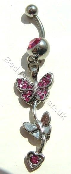 Butterfly Belly Bar Rhodium Plated With Dark Pink Crystals