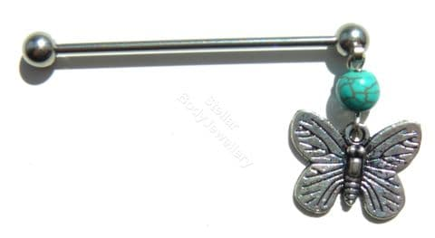 Dangle Turquoise Stone and Butterfly Design 38mm Steel Industrial Scaffold Bar