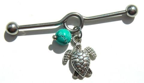 Dangle Turquoise Stone and Turtle Design 40mm Steel Industrial Scaffold Bar
