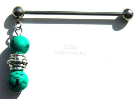 Dangle Turquoise Stone Design 38mm Steel Industrial Scaffold Bar