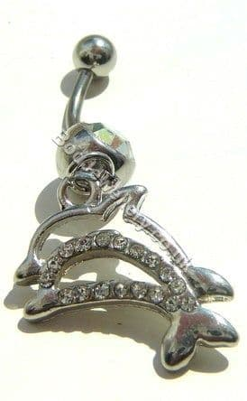 Dolphin Belly Bar Rhodium Plated With Clear Crystals