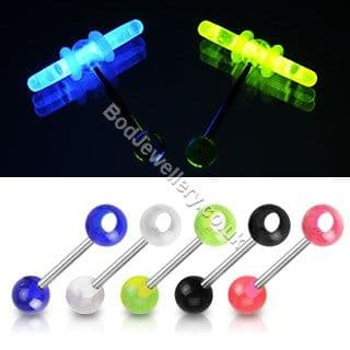 Glow In The Dark Stick Holder Steel Bar Tongue Piercing 5 Colours 16mm