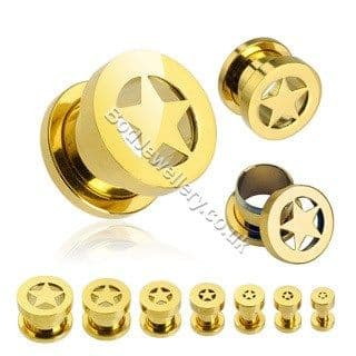 Gold Plated Star Steel Screw Ear Tunnel 3mm to 12mm