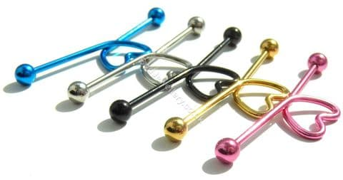 Heart Anodized Steel Industrial/ Scaffold Barbell 5 Colours 40mm