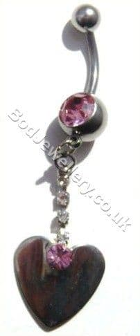 Heart Belly Bar Rhodium Plated With Pink/Clear Crystals