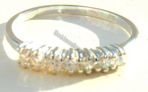 Ladies 925 Sterling Silver Ring Clear Cz, Size L