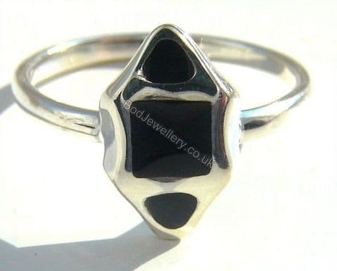 Ladies 925 Sterling Silver Ring Inlay Stone, Size L - R