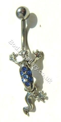 Lizard Belly Bar Rhodium Plated With Blue Crystals
