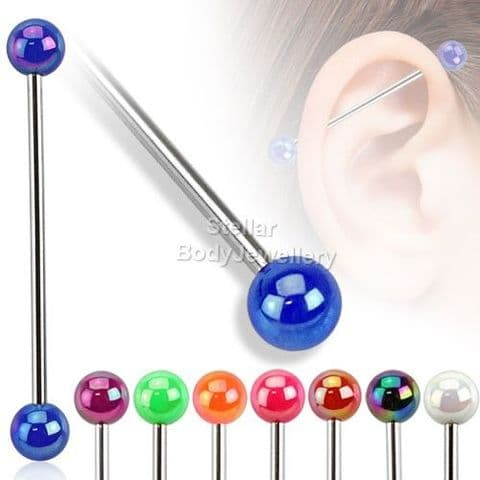 Metallic Coated Acrylic Ball 316L Surgical Steel 35mm Industrial Barbell