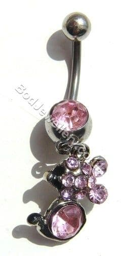 Mouse Belly Bar With Pink Rhinestone