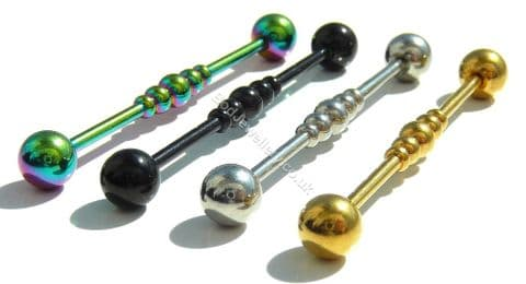 Multiple Balls Anodized Steel Industrial/ Scaffold Barbell 4 Colours 38mm
