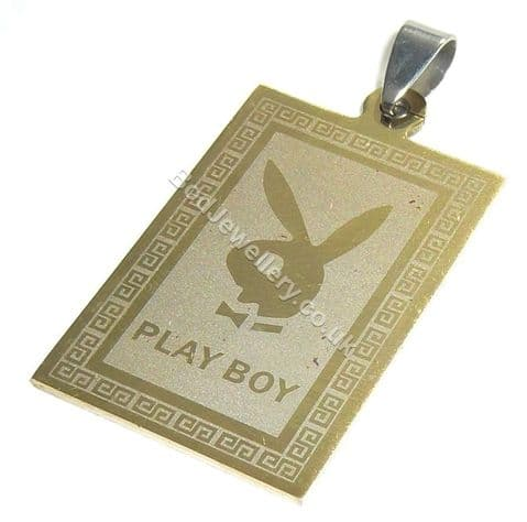 Playboy Bunny Gold Stainless Steel Dog Tag Pendant