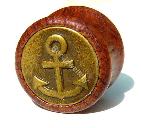 Red Wood Anchor Saddle Ear Tunnel Plug 18mm to 30mm