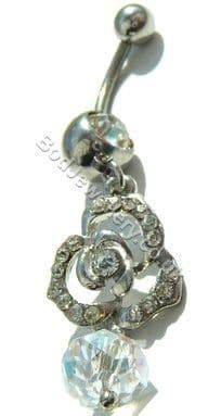 Rose Belly Navel Bar With Clear Rhinestone Dangle Crystal