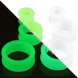 Silicone Glow In The Dark Ear Tunnel Plug Green White 3mm to 22mm