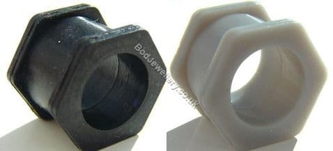 Silicone Nut Ear Tunnel Plug 2 Colours 4mm to 19mm
