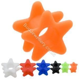 Silicone Star Flare Ear Tunnel Plug 6 Colours 4mm to 19mm