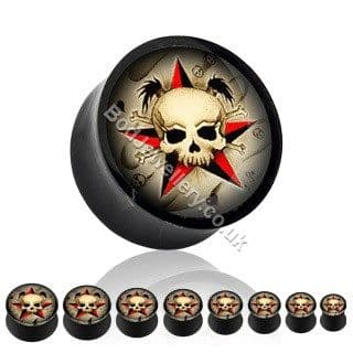 Skull Acrylic Saddle Ear Tunnel/Plug 8mm to 19mm