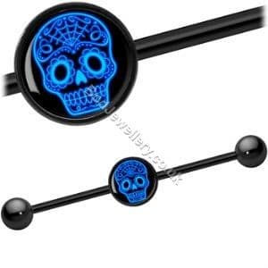 Skull Picture Black Steel Industrial/ Scaffold Barbell 35mm