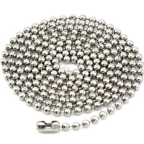 """Stainless Steel 2.5mm Ball Chain Necklace 16"""" - 35"""""""