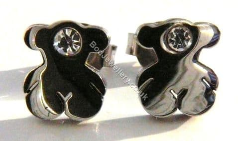 Stainless Steel Bear With CZ Stud Earrings