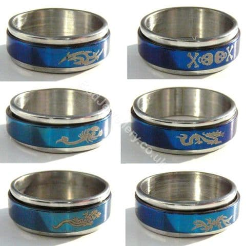 Stainless Steel Blue Spinner Ring , Size M - W 6 Designs