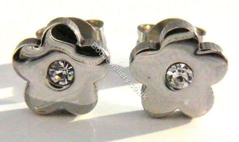 Stainless Steel Flower With CZ Stud Earrings