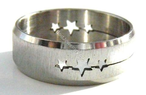 Stainless Steel Laser Cut Stars Ring, Size Q