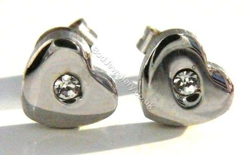 Stainless Steel Love Heart With CZ Stud Earrings