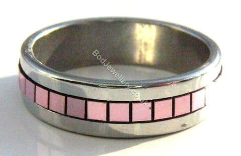 Stainless Steel Ring Acrylic Squares, Size R Pink