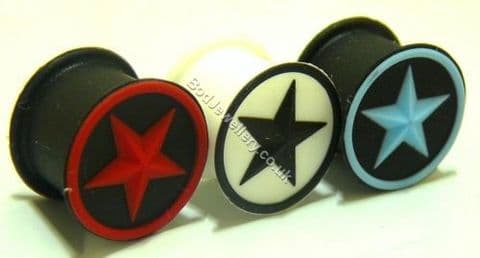 Star Silicone Ear Tunnel Plug 3 Colours 5mm to 20mm