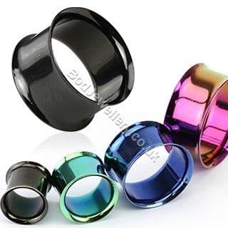 Steel Double Flare Ear Tunnel (4 colours 2mm - 19mm)