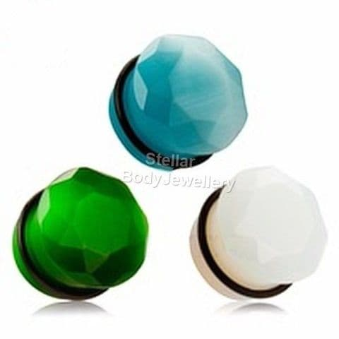 Stone Single Flare Diamond Cut Front Ear Plug Tunnel 6mm - 16mm