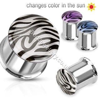 Tiger Colour Change Steel Double Flare Ear Tunnel Plug 2 Colours 6mm - 25mm