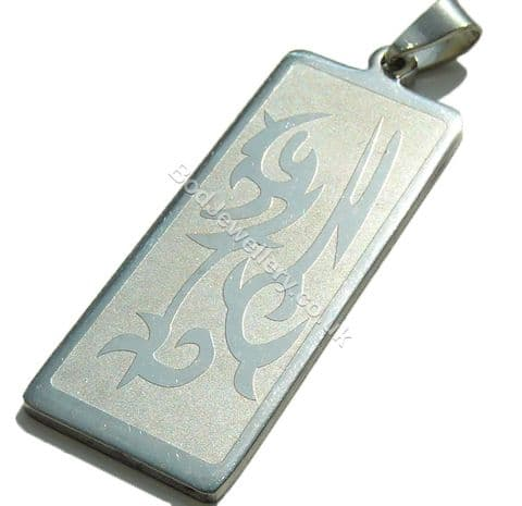 Tribal Pattern Stainless Steel Dog Tag Pendant