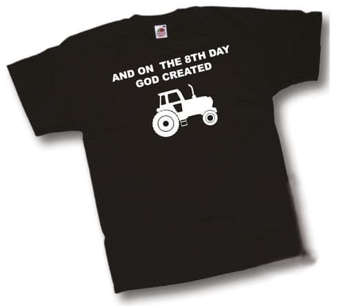 And on the 8th Day GOD created Farming T-Shirt Classic Retro Tractor Farm T shirt