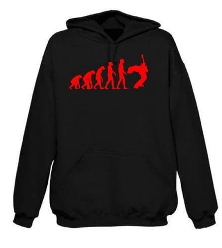 Evolution of a Guitarist Hoodie Guitar Hoody FREE UK Delivery Red Print