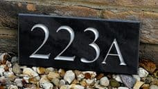 Engraved slate house sign for four digit numbers – 240mm x 100mm; 9.5 inches x 4 inches