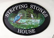 New World Classic Oval House Sign with custom hand painted pictorial