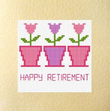 "3 Flower Pots - Retirement Greeting Card Cross Stitch Kit 5.5"" x 5.5"