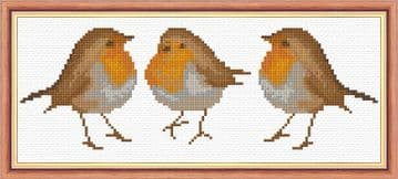 "3 Standing Robin Red Breasts - 14 Count Mini Cross Stitch Kit - 10"" x 4"""