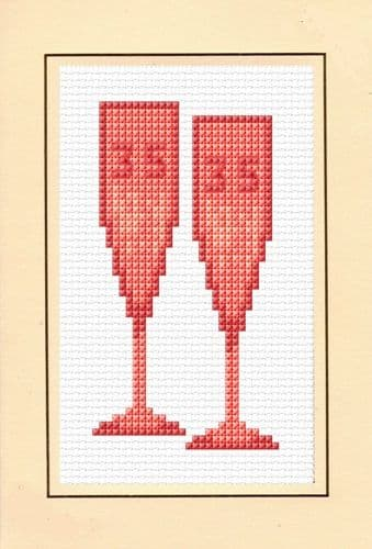 35th, Coral Wedding Anniversary - Cross Stitch A6 Card Kit