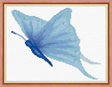 "Blue Butterfly - 14 Count Cross Stitch Mini Kit 8"" x 6"" - Starter/Beginner"