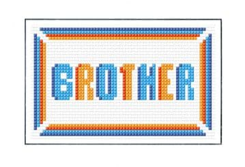 "Brother, Blue + Orange Block Wording - Plain/Birthday Cross Stitch Card Kit 6"" x 4"""