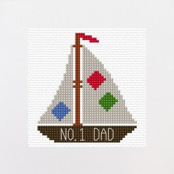 "Cartoon Sail Boat No. 1 Dad, Fathers Day Design - Greeting Card Cross Stitch Kit 5.5"" x 5.5"