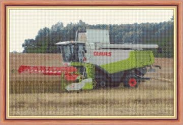 """CLAAS Combine Harvester  - Agriculture 14 Count Cross Stitch - 17"""" x 11"""""""